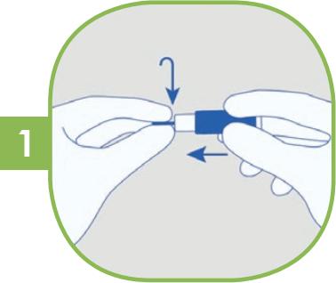 1. Otočte ochrannou čepičku a poté ji vytáhněte rovně.